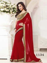Designer Fancy Stylish Latest Exclusive Party Wear Red  Georgette Saree