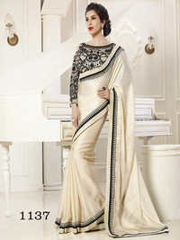 Designer Fancy Stylish Latest Exclusive Party Wear White Georgette Saree