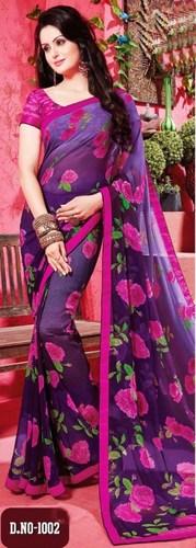 Blue Pink Chiffon Lace Work Party Wear Saree