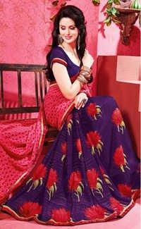 Blue Red Chiffon Lace Work Saree