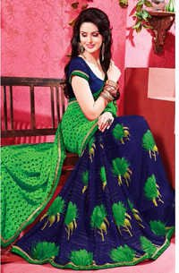 Blue Green Chiffon Lace Work Evening Wear Saree