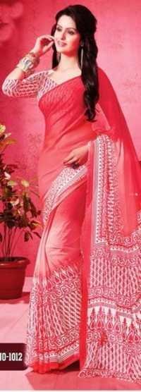 Pink Chiffon Lace Work Office Wear Saree