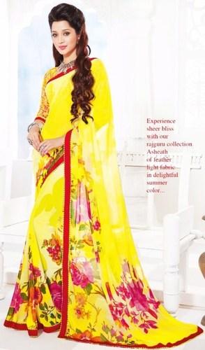 Yellow Chiffon Lace Work Daily Wear Saree