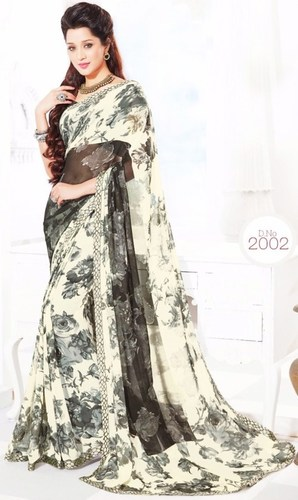 Grey Chiffon Lace Work Exclusive Saree