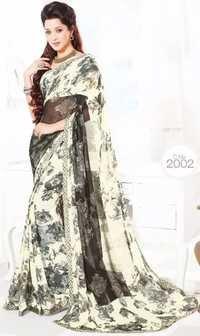 Grey Chiffon Lace Work Exclusive Saree
