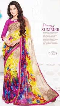 Pink Yellow Chiffon Lace Work Saree