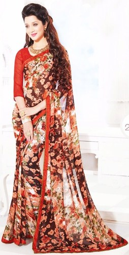 Orange Black Chiffon Lace Work Light Weight Saree