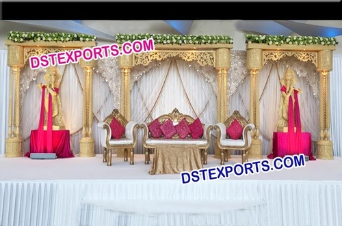 Wooden Carved Pillar Stage
