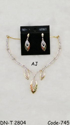 American Diamond Necklace with Meena