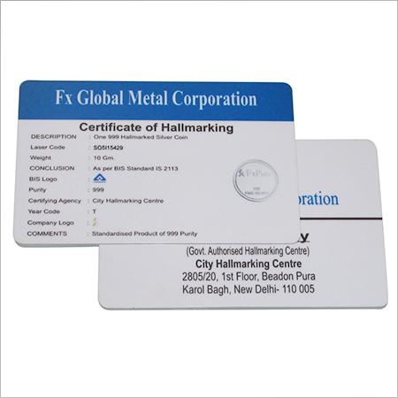 Plastic Certificate Card