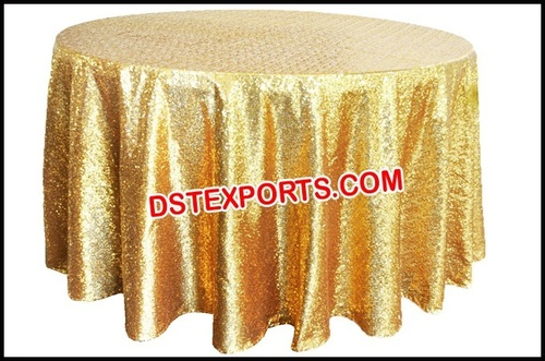 Gold Sequin Round Table Cloth