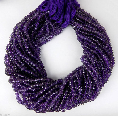 Amethyst Smooth Rondelle Beads