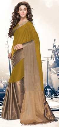 Green Gold Cotton Blend  Saree with Zari border