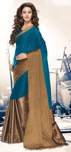 Blue Gold Cotton Blend  Saree with Zari border