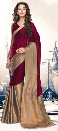 Maroon Gold Cotton Blend  Saree with Zari border