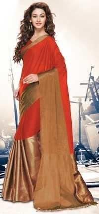 Orange Gold Cotton Blend  Saree with Zari border