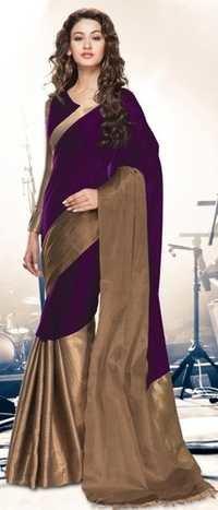 Purple Gold Cotton Blend  Saree with Zari border