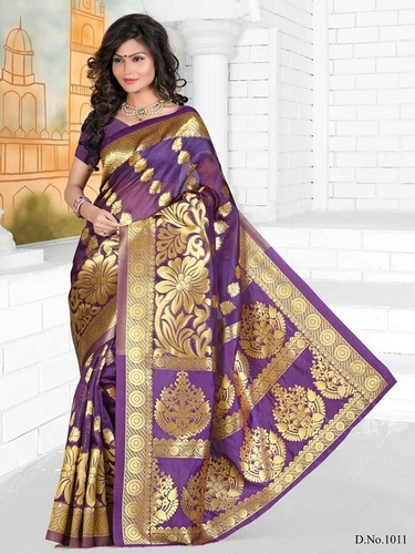 Designer Stylish Latest Exclusive Violet Bangalori Silk Saree