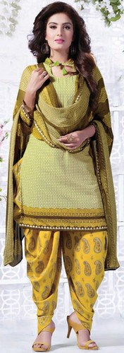 Yellow Synthetic Printed With Lace Work Patiala Salwar Suit