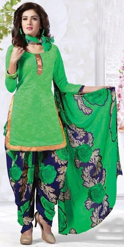 Green Synthetic Printed With Lace Work Patiala Salwar Suit