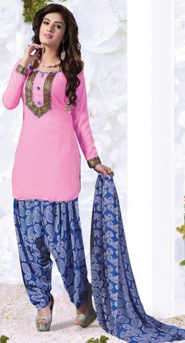 Pink Blue Synthetic Printed With Lace Work Patiala Salwar Suit