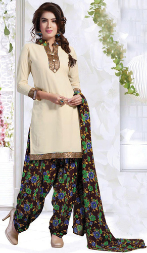 Beige Synthetic Printed With Lace Work Patiala Salwar Suit