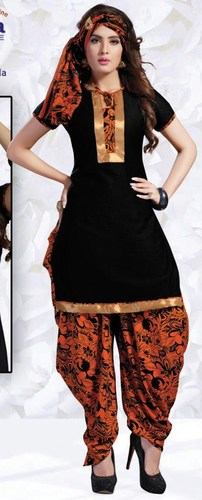 Black Orange Synthetic Printed With Lace Work Patiala Salwar Suit