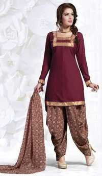 Maroon Synthetic Printed With Lace Work Patiala Salwar Suit