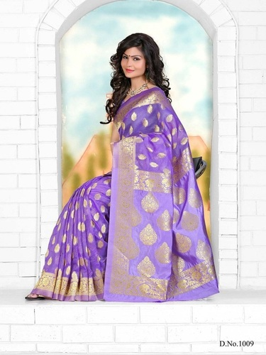 Designer Stylish Latest Exclusive Violet Bangalori Silk Saree