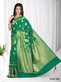 Designer Stylish Latest Exclusive Green Bangalori Silk Saree