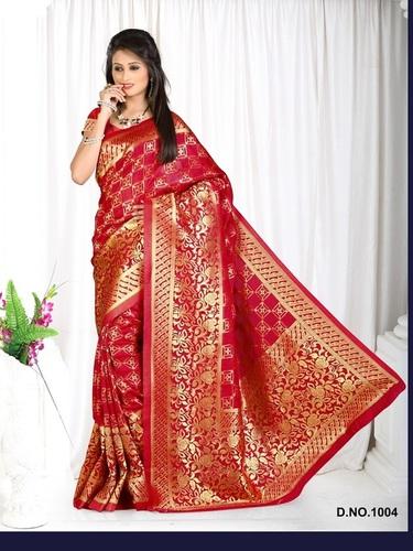 Designer Stylish Latest Exclusive Red Bangalori Silk Saree