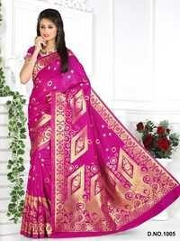 Designer Stylish Latest Exclusive Pink Bangalori Silk Saree