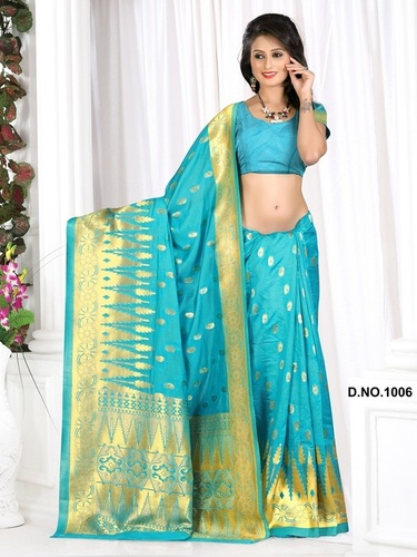 Designer Stylish Latest Exclusive Blue Bangalori Silk Saree