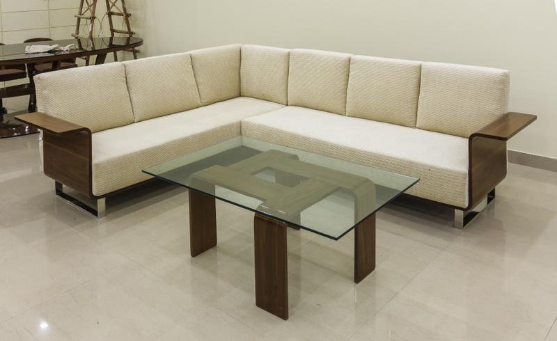 L Wooden Sofa Set