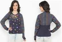 Bedazzle Casual Full Sleeve Printed Women's Blue Top