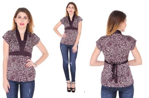 Bedazzle Casual Short Sleeve Printed Women's Purple Top