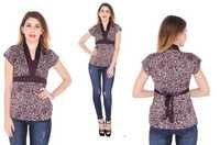Bedazzle Casual Short Sleeve Printed Women's Purple Top