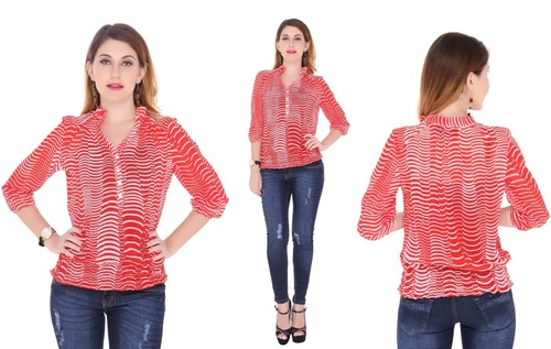 Bedazzle Casual 3/4 Sleeve Printed Women's Red Top