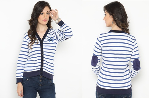 Bedazzle Women's Button Striped Cardigan