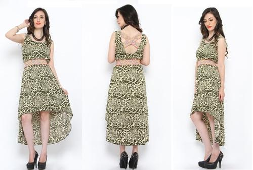 Bedazzle Women's High Low Green Dress