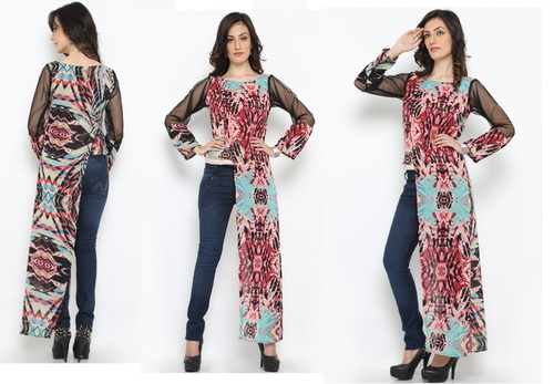 Bedazzle Casual Full Sleeve Printed Women's Multicolor Top