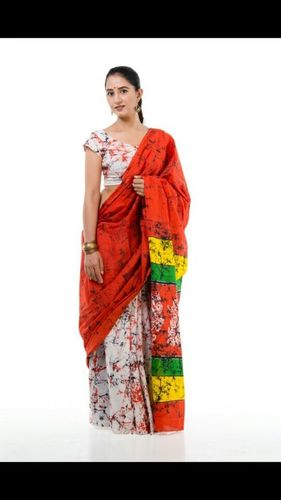 Trendy Block Printed Cotton Saree
