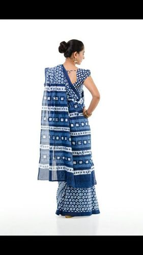 Bagru Indigo Print Cotton Saree