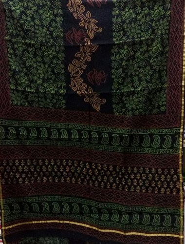 Chanderi Zari Saree With Bagru Print