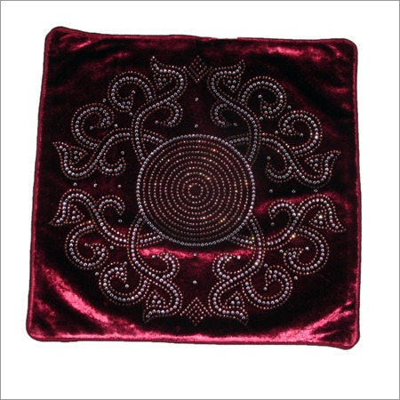 Velvet Cushion Cover Stone Work