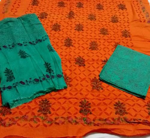 Orange Green Patri Print Aplic Suit
