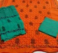 Orange Green Patri Print Aplic Suit