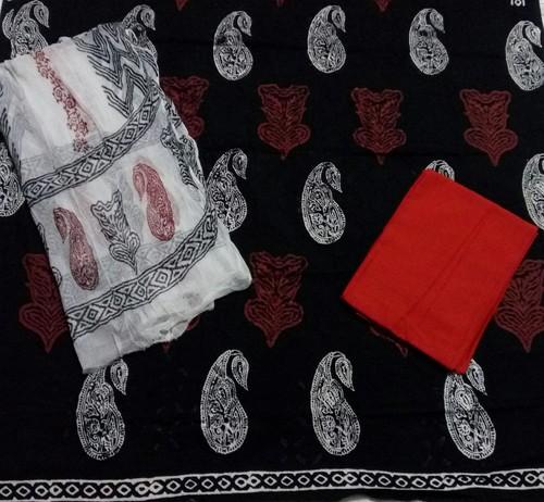 Red Black Patri Print Aplic Suit