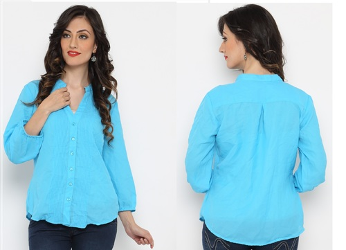 Bedazzle Casual 3/4 Sleeve Printed Women's Blue Top