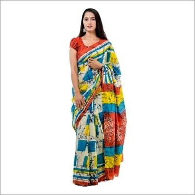 Block Printed Cotton Fancy Saree